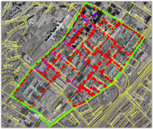 Obstacles à la mobilité cartographiés pour un quartier du centre-ville de Montréal